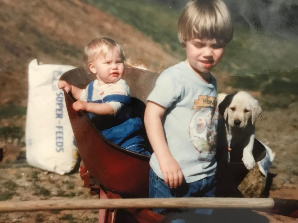 Brother and Sister in Wheel Barrel 80's